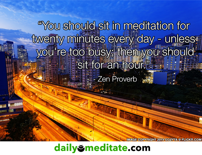 "Quote Picture: ""You should sit in meditation for twenty minutes every day - unless  you're too busy; then you should sit for an hour.""  - Zen Proverb"