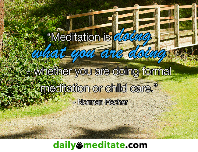 """""""Meditation is doing what you are doing - whether you are doing formal meditation or child care."""" - Norman Fischer"""