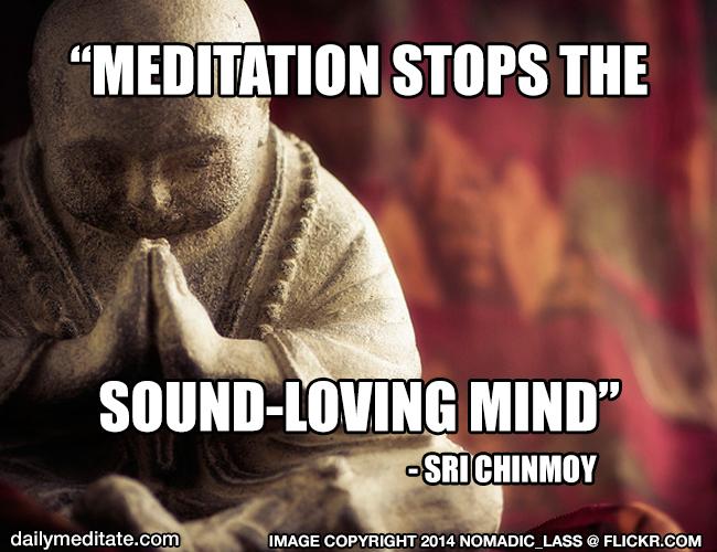 """""""Meditation stops the sound-loving mind."""" - Sri Chinmoy"""